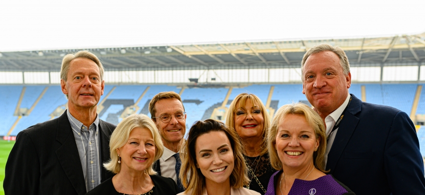 Back, from the left, Nick Eastwood (Wasps), West Midlands Mayor Andy Street, Judy Groves (Rigby Group), Derek Richardson (Wasps). Front, from the left, Sally Hall (Breast Cancer Haven), speaker Holly Matthews and Mary Rhodes (BBC presenter)
