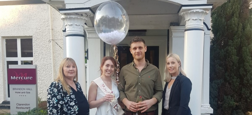 Zoey Henchliffe (second left) and Ieuan Lewis with Melanie Kerkeni (left) and Leigh Amy Young from Brandon Hall Hotel and Spa