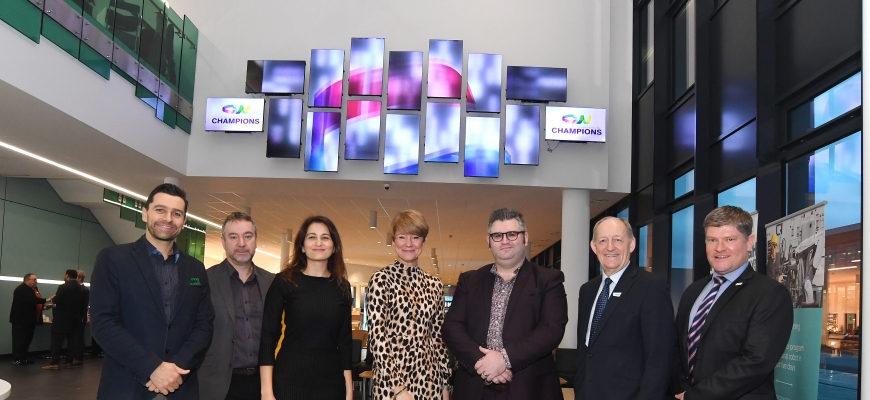 Pictured are Steve Pearce, Matthew Beaven, Dr Lina Huertas, Anna Clarke, Simon Williams, Les Ratcliffe and Nic Erskine.