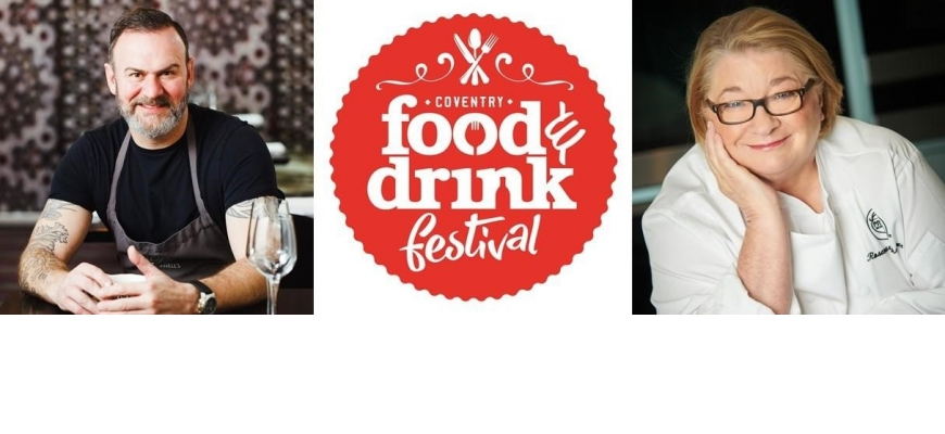 Glynn Purnell and Rosemary Shrager who will both be appearing at this year's Coventry Food and Drink Festival.