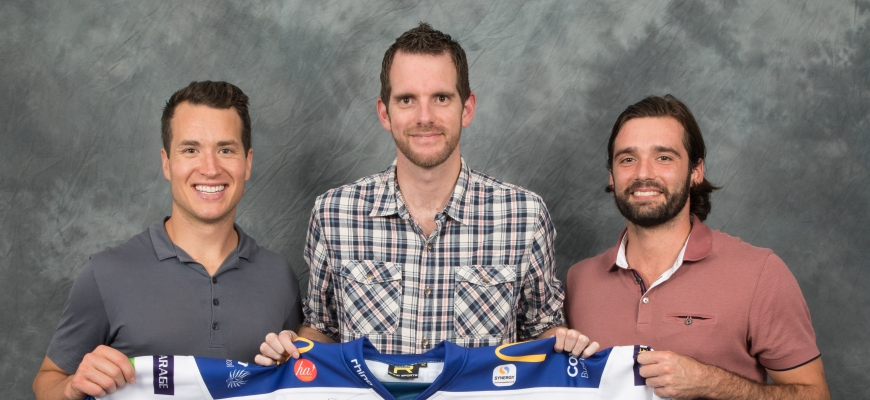 Coventry Blaze players Kevin Noble and Luke Ferrara with Fig Offices Operations Manager Garrick Hunter (middle)