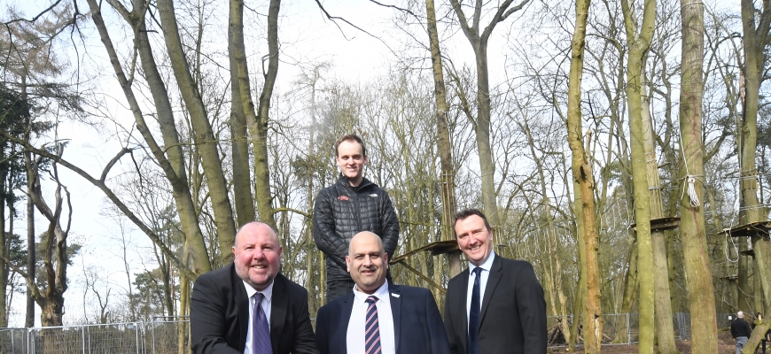 (front, left to right) Councillor Jim O'Boyle cabinet member for Jobs and Regeneration, Councillor Abdul Khan, Deputy Leader and Cabinet Member responsible for Parks, Richard Harrison, Managing Director of Coombe Abbey Park Limited and (back) Luke Parker,