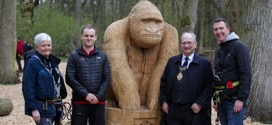 (left to right) Emma Cosgrove from Coombe Park, Luke Parker, manager of Go Ape Coventry, Councillor John Blundell – the Lord Mayor of Coventry and Richard Harrison, Managing Director of Managing Director of Coombe Abbey Park Limited.