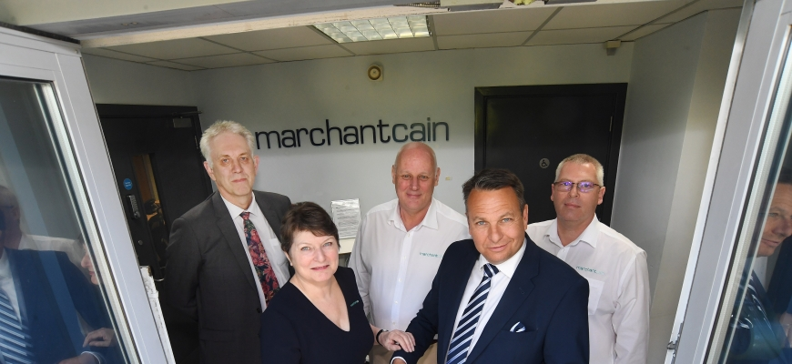 At MarchantCain's official opening last summer when they moved to Banner Park are, back, from the left, Phil Peak (CWLEP Growth Hub), Rob Marchant (MarchantCain) and Jim Griffin (MarchantCain). Front, Pam Cain (MarchantCain) and Craig Humphrey (CWLEP Grow
