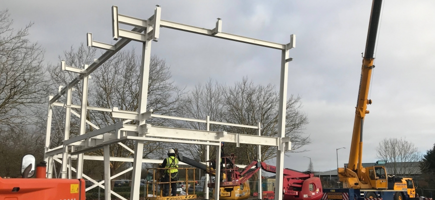 The steel frame has been erected as the construction of MCS Group's new headquarters in Warwick continues to make good progress.