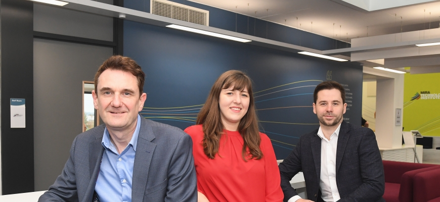 Sarah Pagan from the CWLEP Growth Hub with David Hooper, Director and Founder of Independent Freight Solutions (left) & James Ahearne, International Trade Hub Manager at Coventry & Warwickshire Chamber of Commerce