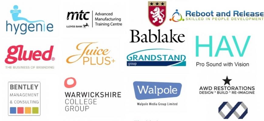 Champions, Coventry, Warwickshire, Hygenie, MTC, Lloyds Bank, Bablake, Reboot and Release, Glued, Juice Plus, Grandstand, Stoneleigh, HAV, Bentley, Warwickshire College Group, Walpole, AWD Restorations, Purple Monster, Midlands Training and Development,