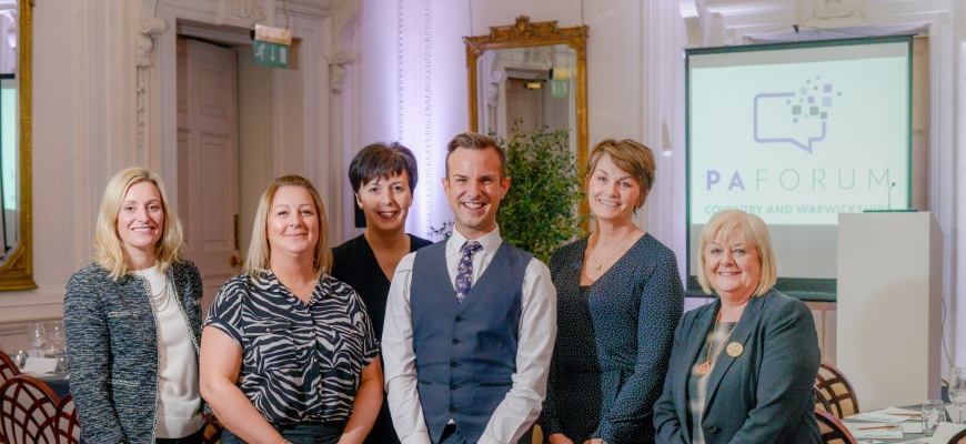 (left to right) Coventry and Warwickshire PA Forum committee members Hannah Smith (Designated PA), Linda Leggett (McKesson), Julie Budd (Galliford Try) with PA Forum founder Daniel Skermer (PA Forum), committee member, Tracy Whitehouse (Aston University)