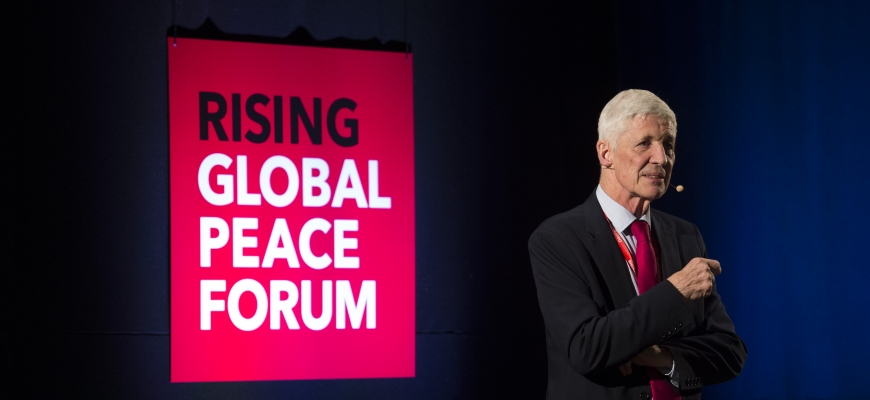 Professor Mike Hardy at the RISING Global Peace Forum.