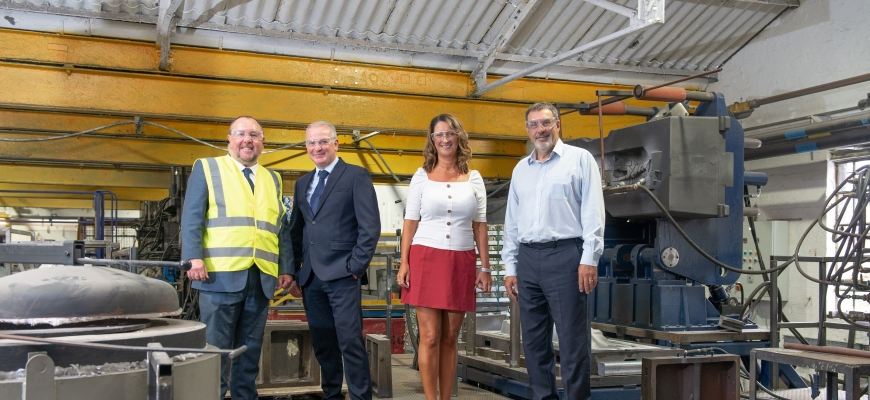 Pictured (left to right): Visiting Sarginsons in 2019, Councillor Jim O'Boyle is with Anthony Evans (Sarginsons), Annette Milton (Sarginsons), Kevin Brierley (Sarginsons)