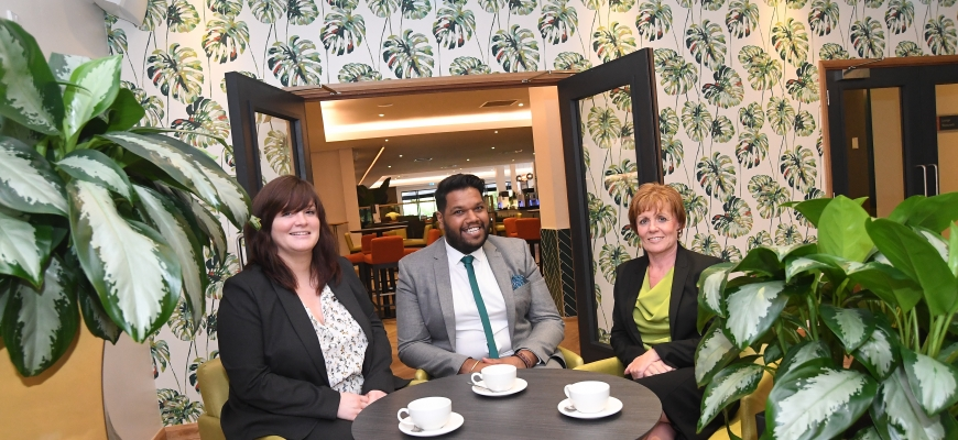 Pictured in the Scarman lounge area are, from left to right, Helen James, operations manager at Warwick Conferences, Jaspal Mond, project team leader at Baily Garner, and Jean Hill, facilities manager at Warwick Conferences.