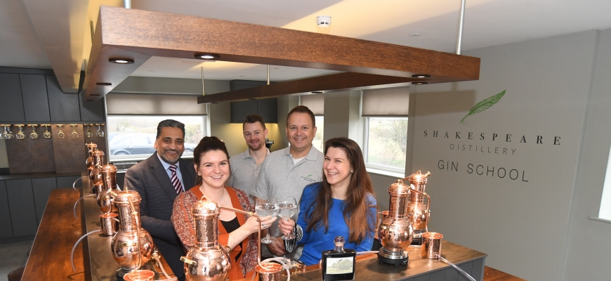 (front, left to right) Anneka Nicholls and Ekaterina Leret from Shakespeare's England, with (back, left to right) Jagdish Soor from Warwickshire County Council, Simon Picken and Peter Monks from Shakespeare Distillery.