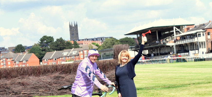 Andre Klein, General Manager at Warwick Racecourse with Monica Fogarty, chief executive of Warwickshire County Council on the racecourse.