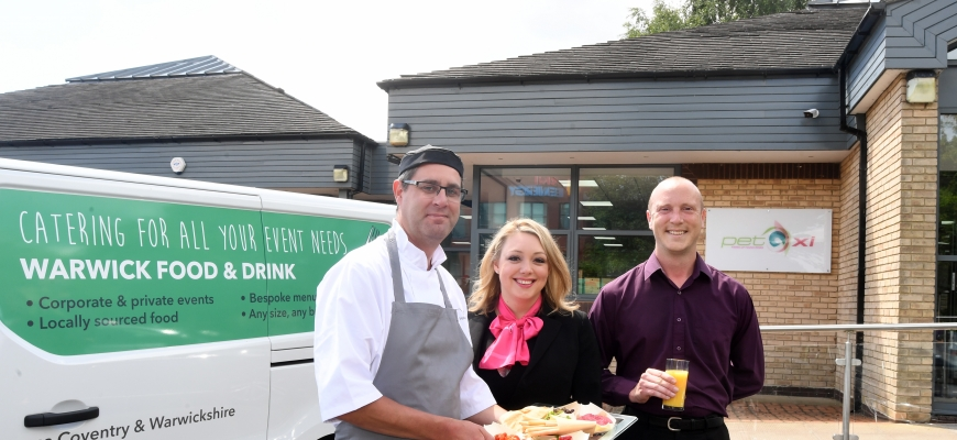 Pictured, from left to right, are Phil Thorpe (sous chef at Warwick Conferences), Fleur Sexton (managing director of PET-Xi Training) and Dan Coombs (Warwick Food & Drink).