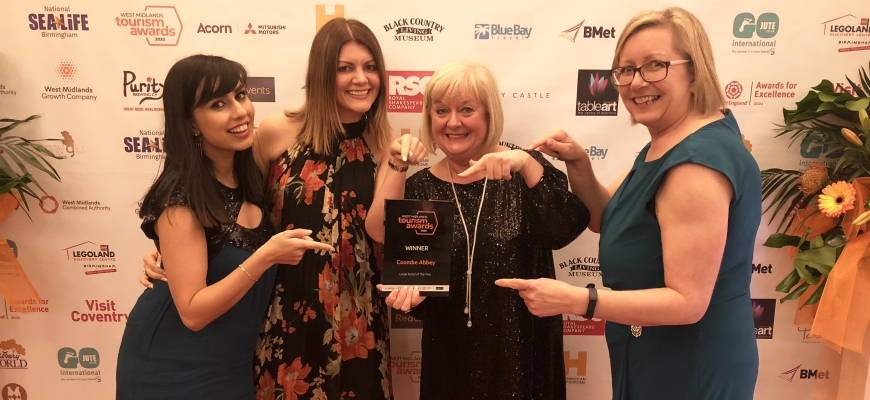 Coombe Abbey Hotel E-commerce and Marketing Executive, Pavan Gill, Sales Manager, Laura Moore, Sales Director, June Picken and Sales Office Manager, Nicola Felton show off their award.